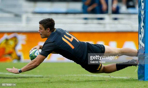 Bautista Delguy of Jaguares scores a try during a match between Jaguares and Lions as part of the sixth round of Super Rugby at Jose Amalfitani...