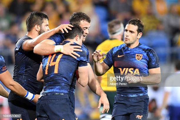 Bautista Delguy of the Pumas celebrates with team mates after scoring a goal during The Rugby Championship match between the Australian Wallabies and...