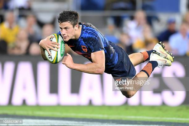 Bautista Delguy of the Pumas scores a try during The Rugby Championship match between the Australian Wallabies and Argentina Pumas at Cbus Super...