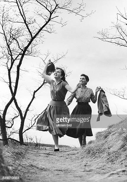 Bavaria two young maidens in the springtime early fifties