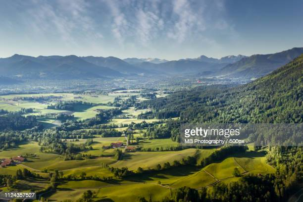 bavarian alps seen from a hot air balloon - 山村 ストックフォトと画像