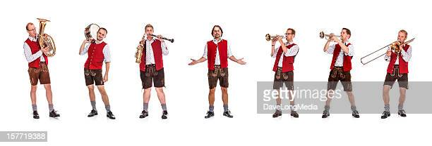 bavarian / austrian brass band - traditional clothing stock pictures, royalty-free photos & images