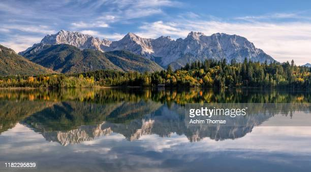 bavarian autumn landscape, germany, europe - karwendel mountains stock pictures, royalty-free photos & images