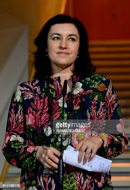 Bavarian Christian Social Union politician Dorothee Baer looks on during a statement at the SPD headquarters on February 4 2018 in Berlin as German...