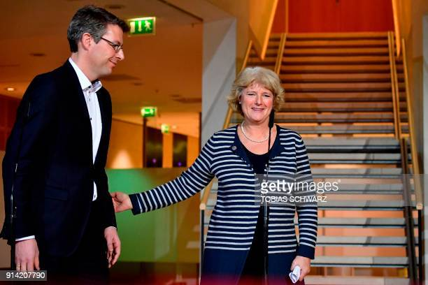 Bavarian Christian Social Union politician Markus Blume and German State Secretary for Culture and the Media Monika Gruetters arrive to give a...