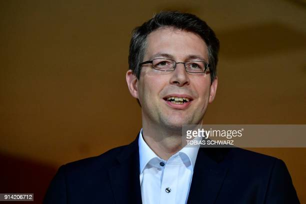 Bavarian Christian Social Union politician Markus Blume gives a statement at the SPD headquarters on February 4 2018 in Berlin as German...