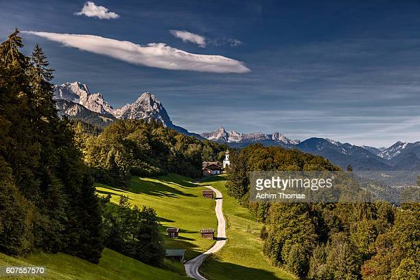 Bavarian Countryside with a view to the bavrian alps