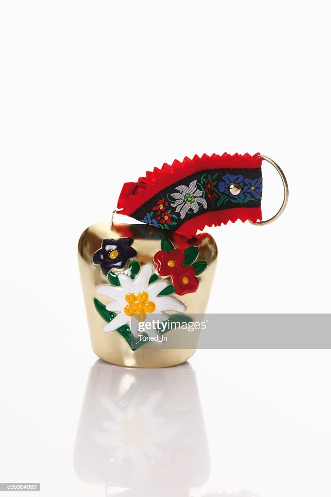 Bavarian cow bell on white background : Stock Photo