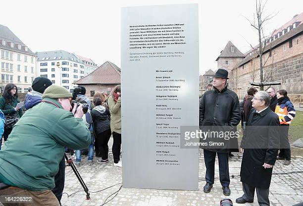 Bavarian finance minister Markus Soeder and Arno Hamburger head of the Nuremberg Jewish community attend the inauguration of a memorial to victims of...
