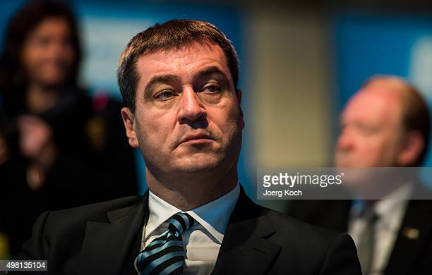 Bavarian Finance Minister Markus Soeder attends the annual CSU party congress on November 21 2015 in Munich Germany Members of the CSU particularly...