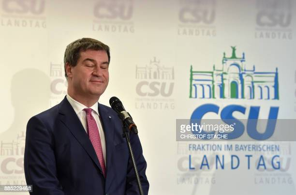 Bavarian Finance Minister Markus Soeder of the conservative Christian Social Union party the Bavarian sister party of Chancellor Merkel's Christian...