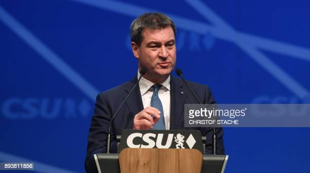 Bavarian Finance Minister Markus Soeder speaks on December 16 2017 in Nuremberg southern Germany after the party leader election during the congress...