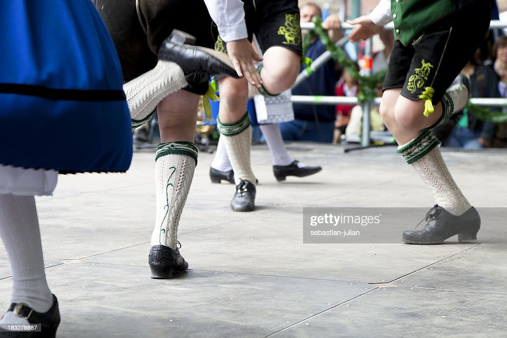 bavarian folk dance at oktoberfest in munich : Stock Photo