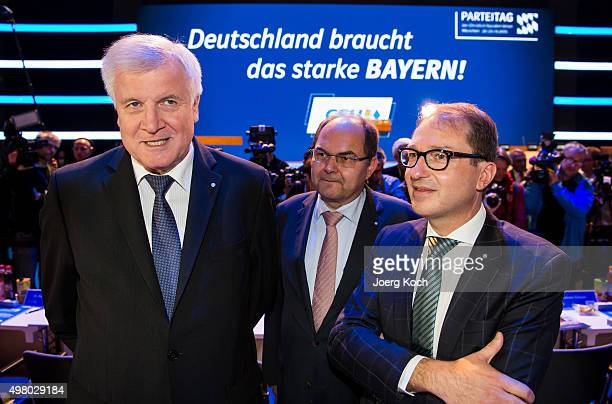 Bavarian Governor and Chairman of the Bavarian Christian Democrats Horst Seehofer the Federal Minister of Food and Agriculture Christian Schmidt and...