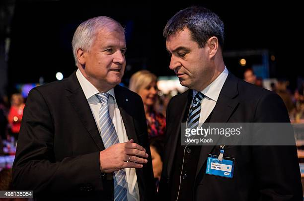 Bavarian Governor and Chairman of the Bavarian Christian Democrats Horst Seehofer and and Bavarian Finance Minister Markus Soeder talk during the...