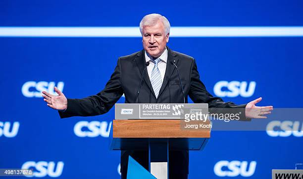 Bavarian Governor and Chairman of the Bavarian Christian Democrats Horst Seehofer speaks at the annual CSU party congress on November 21 2015 in...