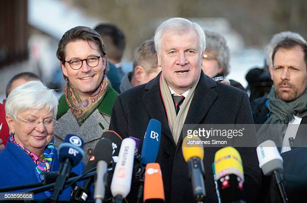 Bavarian Governor and Chairman of the Bavarian Christian Democrats Horst Seehofer CSU secretary general Andreas Scheuer and CSU faction leader Gerda...