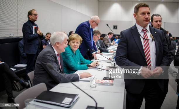 Bavarian Governor and leader of the Bavarian Christian Democrats Horst Seehofer and German Chancellor Angela Merkel parlamentary group chair of...