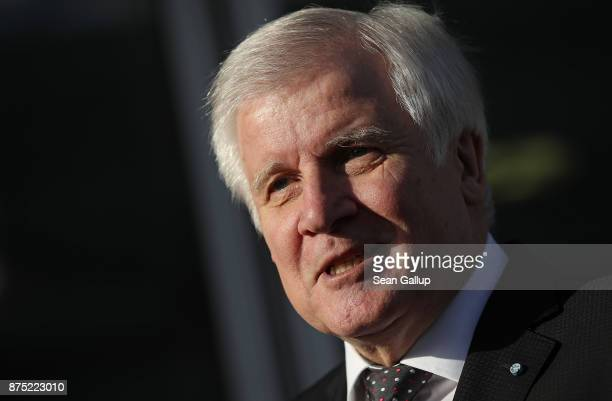 Bavarian Governor and leader of the Bavarian Christian Social Union Horst Seehofer arrives for further talks the morning after leaders of the four...