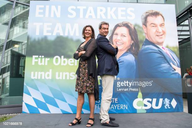 Bavarian Governor and leading member of the Bavarian Social Union Markus Soeder and Deputy Governor Ilse Aigner attend the presentation of a CSU...