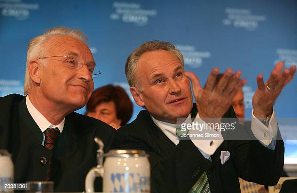 Bavarian Governor Edmund Stoiber and Erwin Huber Bavarian minister of Economic Affairs chat during the traditional Ash Wednesday rally on February 21...