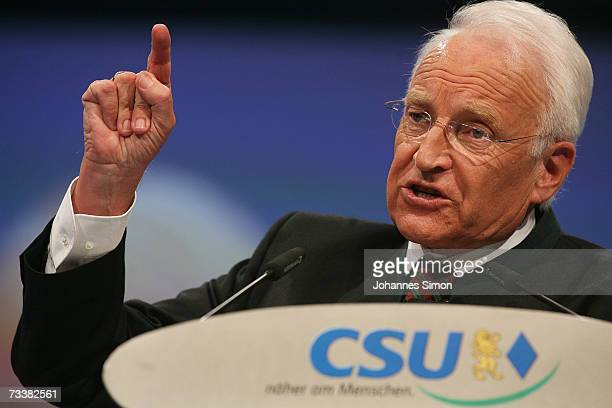 Bavarian Governor Edmund Stoiber delivers his speech during the traditional Christian Social Union Ash Wednesday rally on February 21 2007 in Passau...