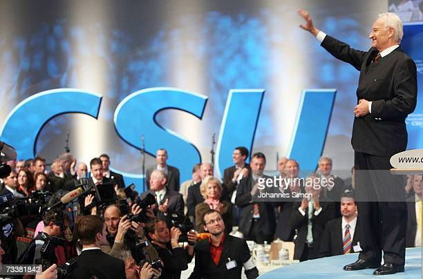 Bavarian Governor Edmund Stoiber waves to his supporters after his speech during the traditional Ash Wednesday rally on February 21 2007 in Passau...