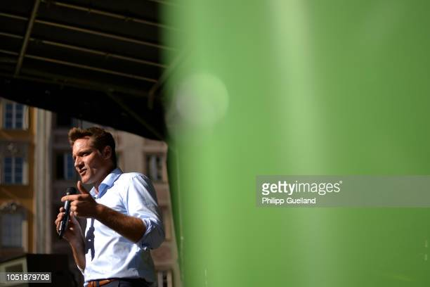 Bavarian Greens Party lead candidate Ludwig Hartmann speaks during a Greens Party rally ahead of Bavarian state elections on October 11 2018 in...