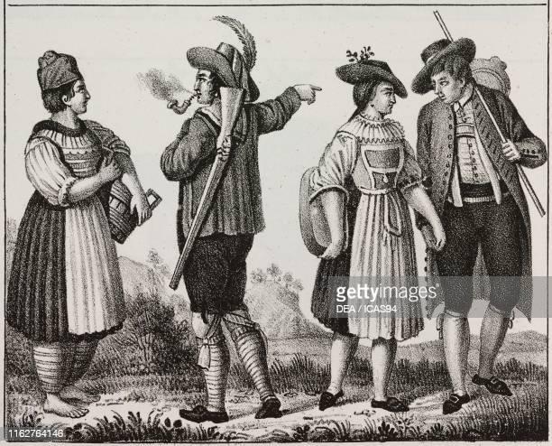 Bavarian highlanders and inhabitants of the Munich region Germany lithograph from Galleria universale di tutti i popoli del mondo ossia storia dei...