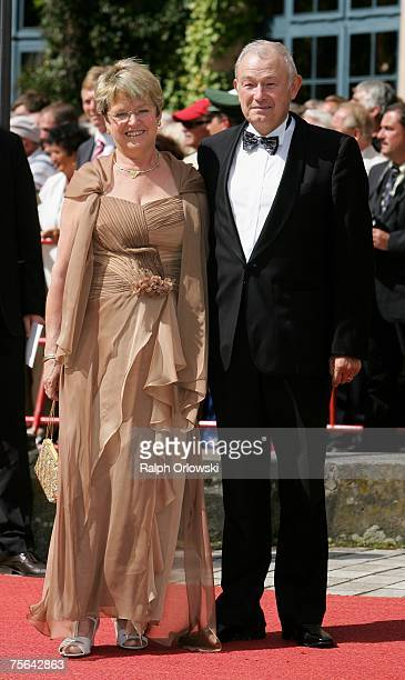 Bavarian Interior Minister Guenther Beckstein and his wife Marga arrive for the premiere of the Richard Wagner festival July 25 2007 in Bayreuth...