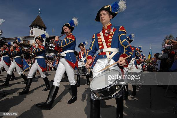 A bavarian marching band playing music during the ceremonial opening of the Oktoberfest beer festival on September 22 2007 in Munich Germany During...