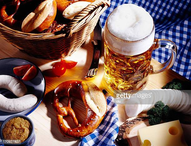 bavarian meal and a glass of beer - oktoberfest stock pictures, royalty-free photos & images