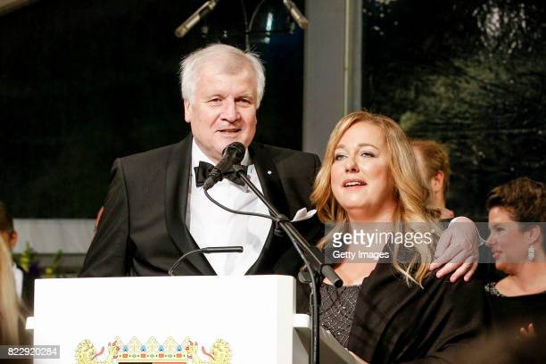 Bavarian Minister Horst Seehofer and Katharina Wagner during the Bayreuth Festival 2017 State Reception at Neues Schloss on July 25 2017 in Bayreuth...