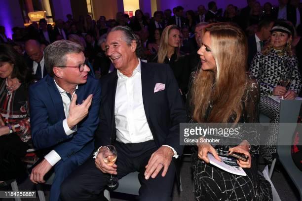 Bavarian Minister of art Bernd Sibler Urs Brunner and his wife Daniela Brunner during the PIN Party at Pinakothek der Moderne on November 23 2019 in...