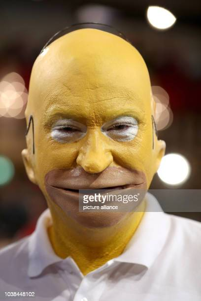 Bavarian Minister of Finance Markus Soeder dressed as Homer Simpson photographed at the carnival television show 'Fastnacht in Franken' in...