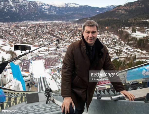 Bavarian Minister of Finance Markus Soeder visits the Four Hills Tournament in GarmischPartenkirchen Germany 01 January 2018 Photo Daniel Karmann/dpa