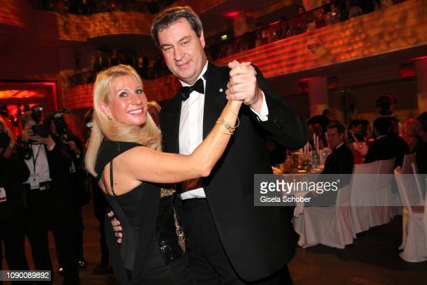 Bavarian Prime Minister and his wife Karin Soeder dance during the 46th German Film Ball party at Hotel Bayerischer Hof on January 26, 2019 in...