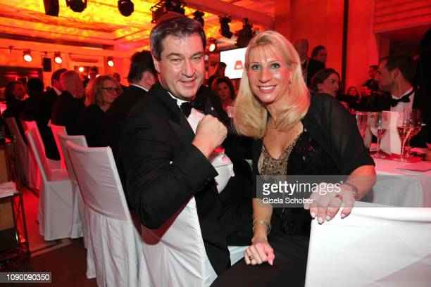 Bavarian Prime Minister and his wife Karin Soeder during the 46th German Film Ball party at Hotel Bayerischer Hof on January 26, 2019 in Munich,...