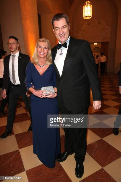 Bavarian Prime Minister Dr. Markus Soeder and his wife Karin Soeder during the new year reception of the Bavarian state government at Residenz on...