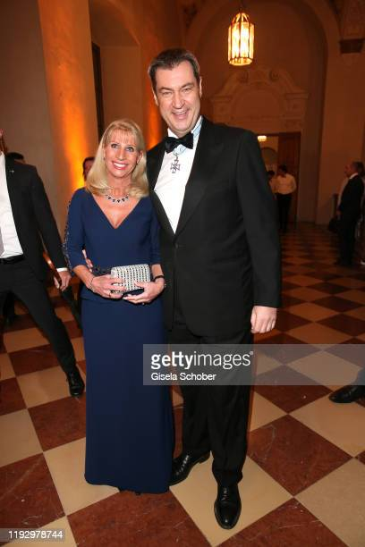 Bavarian Prime Minister Dr Markus Soeder and his wife Karin Soeder during the new year reception of the Bavarian state government at Residenz on...