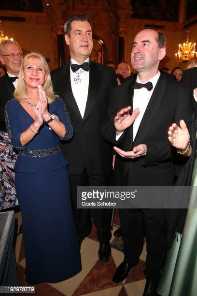 Bavarian Prime Minister Dr Markus Soeder and his wife Karin Soeder Hubert Aiwanger Freie Waehler during the new year reception of the Bavarian state...