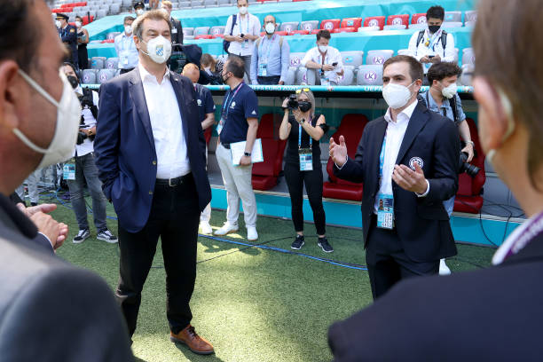 DEU: Delegations Of The DFB and Bavarian Government Visit The Allianz Arena