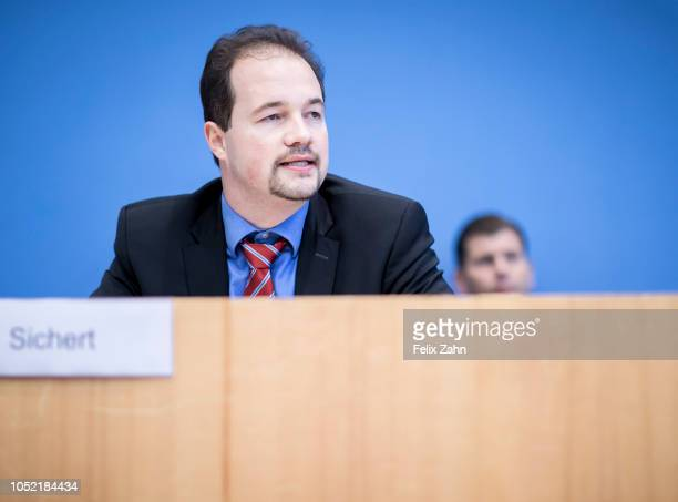 Bavarian regional chairman of the farright Alternative fuer Deutschland party Martin Sichert gives a statement on the aftermath of the Bavarian state...