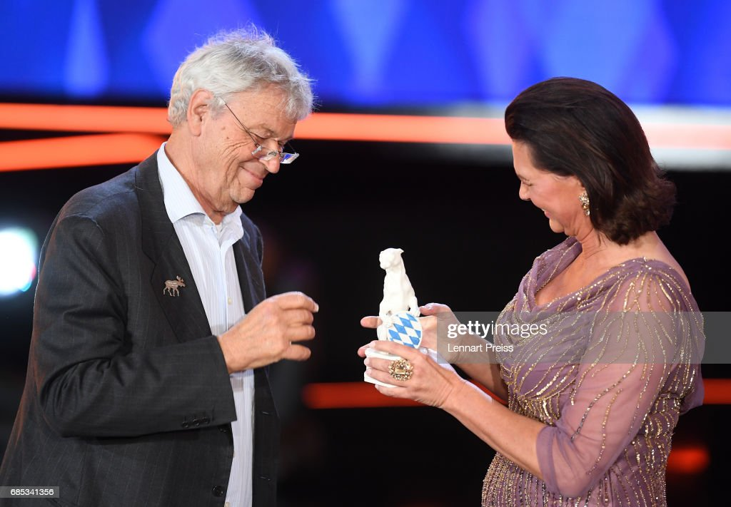 Bavarian state minister Ilse Aigner hands over the Honorary Award to Gerhard Polt during the Bayerischer Fernsehpreis 2017 show at Prinzregententheater on May 19, 2017 in Munich, Germany.