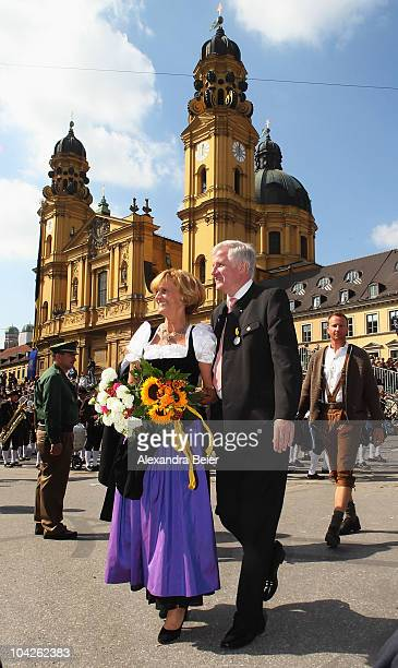 Bavarian state premier Horst Seehofer and his wife Karin participate in the traditional riflemen's parade of the Oktoberfest on September 19 2010 in...