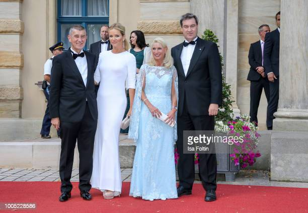 Bavarian state Premier Markus Soeder next to his wife Karin Baumueller as they arrive with Czech Prime Minister Andrej Babis and his wife Monika...