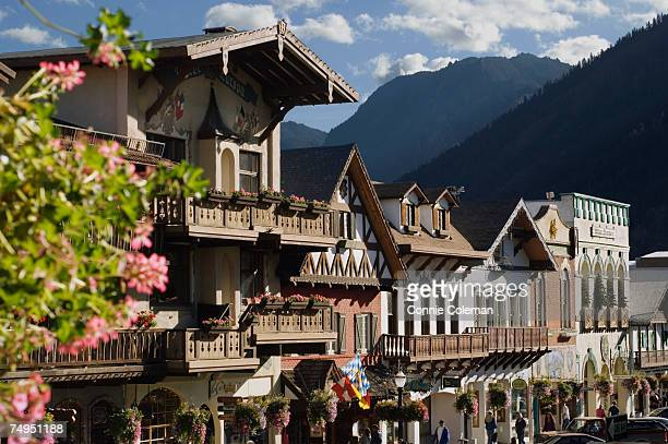bavarian style village located near cascade mountains - leavenworth washington stock photos and pictures