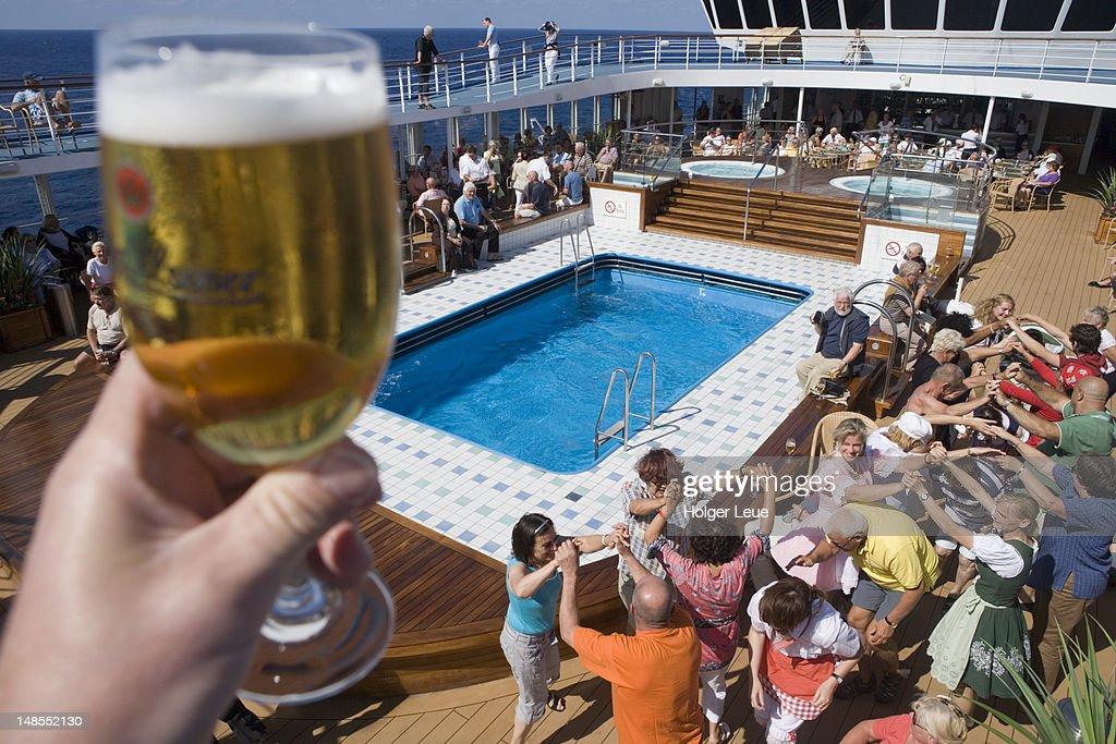 Bavarian Theme Party On Deck Of Cruiseship Delphin Voyager Stock - Cruise ship theme party