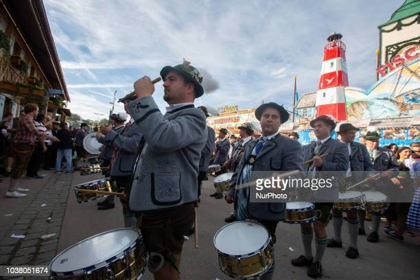 Bavarian traditional drummers on day one of the Oktoberfest ceebrations in Munich Germany on 22 September 2018 The Oktoberfest is the world's largest...