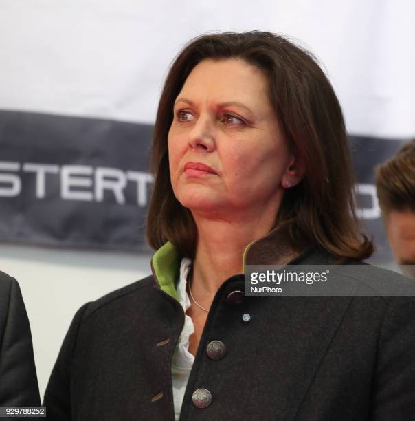 Bavarian vice governor and minister of economics Ilse Aigner of the Christian Social Union listened to the press conference German Chancellor Angela...